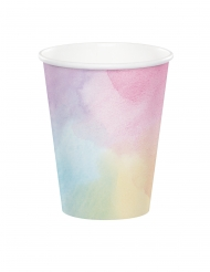 8 Gobelets en carton roses iridescents 266 ml