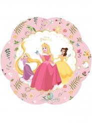 4 Assiettes en carton forme fleur premium Princesses Disney™ 26 x 26 cm