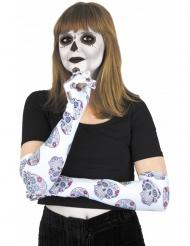 Gants longs blancs avec squelette colorés Dia de los muertos