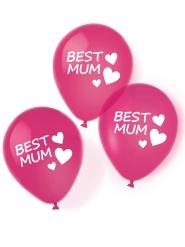 6 Ballons en latex Best Mum rouges 27,5 cm