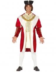 Déguisement roi médieval rouge et or homme