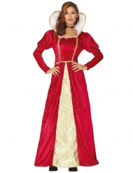 Déguisement reine médieval rouge et or femme