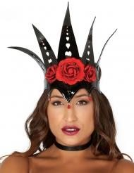 Couronne reine noire et roses rouges femme