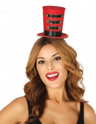 Mini chapeau haut de forme majorette rouge femme