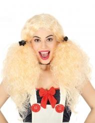 Perruque couettes blondes frisées femme