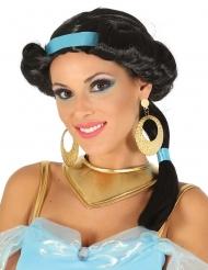 Perruque noire princesse du désert avec bandeau bleu femme 433d5047aa4