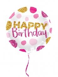 Ballon aluminium happy birthday rose et doré 45cm