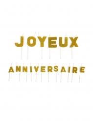 Bougies sur pique joyeux anniversaire dorées pailletées 1,6 x 1,2 cm et 1,8 x 2,2 cm