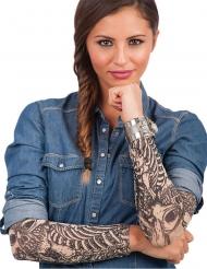 Manches faux tatouages squelette imprimée adulte