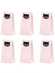 6 Sacs cadeaux en papier chaton roses 8 x 18 x 6 cm