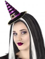 Serre-tête mini chapeau de sorcière rayé noir et violet adulte