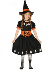 Déguisement jolie petite sorcière avec chapeau noir et orange fille