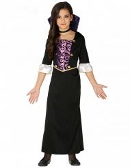 Déguisement jeune vampire violet et noir fille