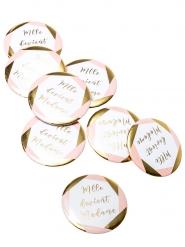 8 Badges mlle devient madame rose et doré 5 cm