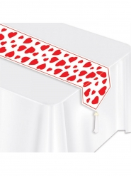 Chemin de table blanc cœurs rouges 28 cm x 1,82 m