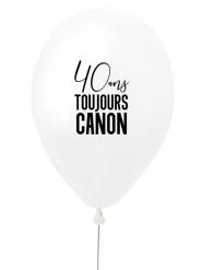 Ballon en latex 40 ans toujours canon blanc et noir 27 cm