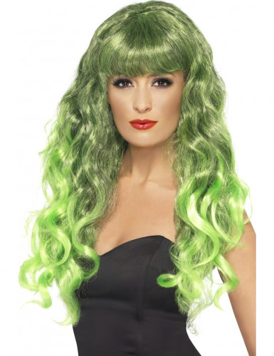 Perruque sir�ne boucl�e verte femme