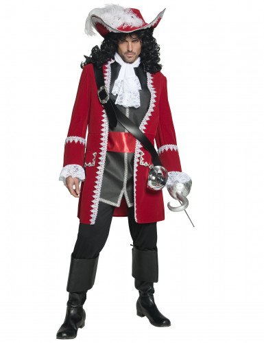 Déguisement capitaine pirate rouge luxe homme
