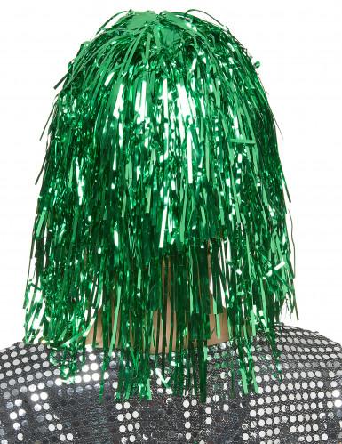 Perruque metallique verte femme -1