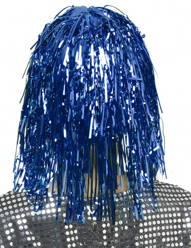 Perruque métallique bleue adulte-1