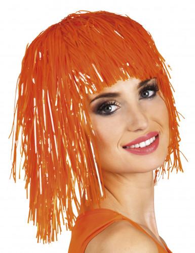 Perruque métallique fluo orange adulte