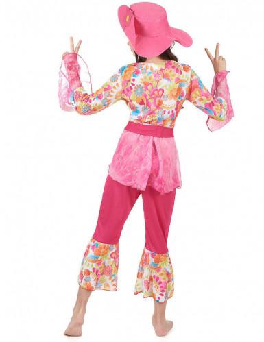 Déguisement hippie rose fille-1