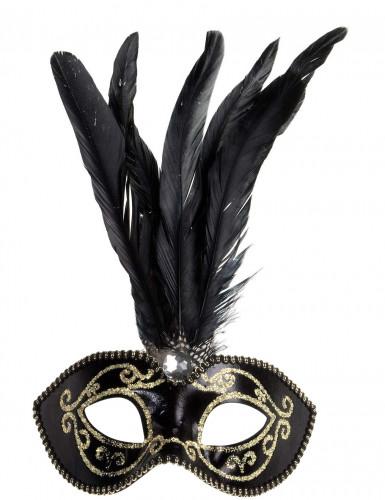 Oferta: Antifaz negro y dorado con plumas