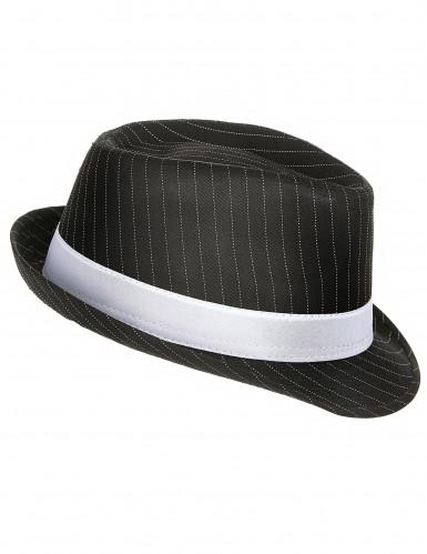 Chapeau gangster noir rayé  adulte