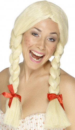 Perruque écolière blonde à nattes femme