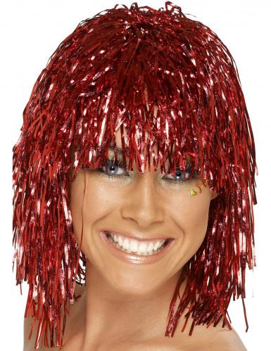 Perruque m�tallique rouge adulte