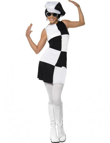 Déguisement disco femme blanc et noir