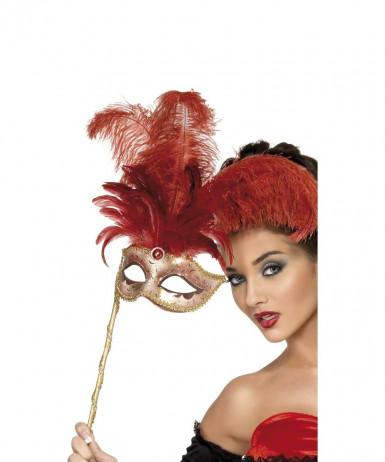 Oferta: Antifaz veneciano con plumas rojas para adulto