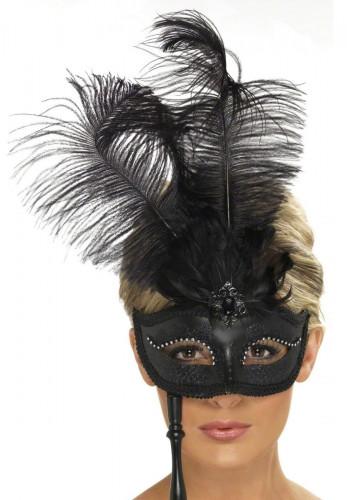 Oferta: Antifaz con plumas negras para adulto