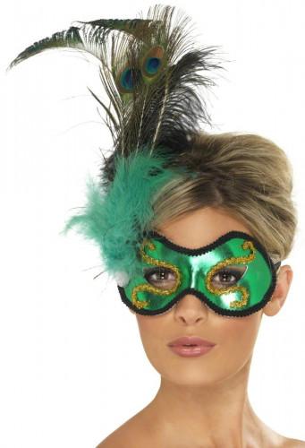 Oferta: Antifaz verde con plumas para adulto