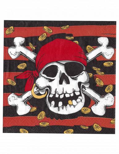 Lote de veinte servilletas de papel estilo pirata. Cada servilleta