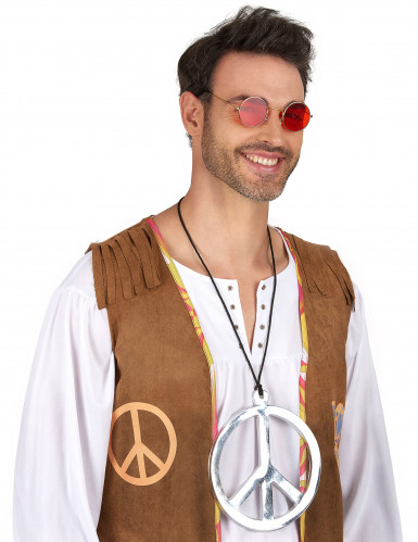 Collier hippie argenté géant-1