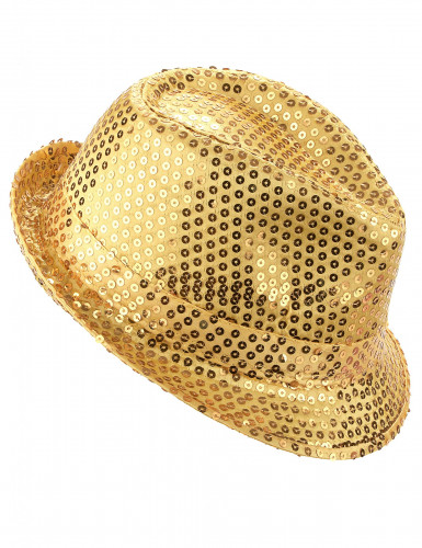 ¡Sombrero de lentejuelas dorado adulto!
