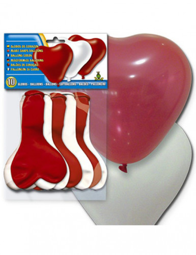 10 globos de corazón blanco