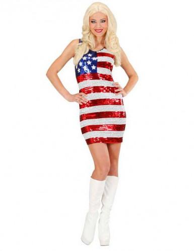 Déguisement robe sequins miss USA femme
