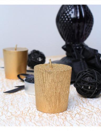 4 Petites bougies jaune dorées à paillettes 4,5 cm de hauteur-1