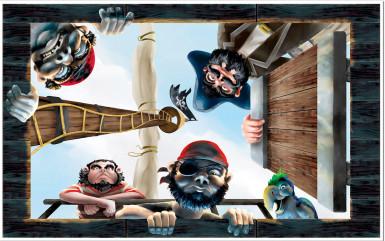 Décoration murale bateau de pirate
