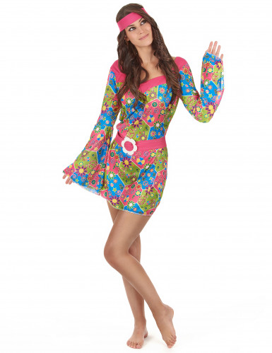 Déguisement hippie femme à fleurs