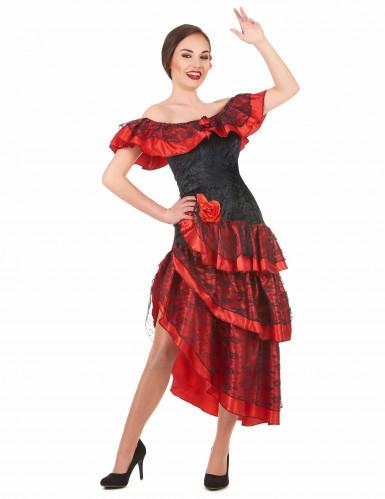 Déguisement danseuse de flamenco femme rouge et noir