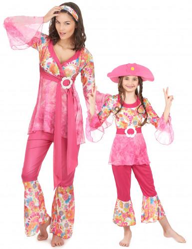 Déguisement couple hippie rose mère et fille