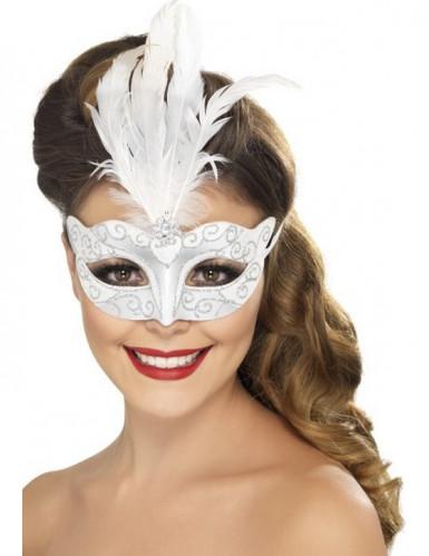 Oferta: Antifaz veneciano plateado con plumas blancas adulto