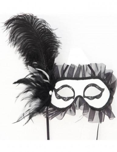 Oferta: Antifaz con plumas blanco y negro