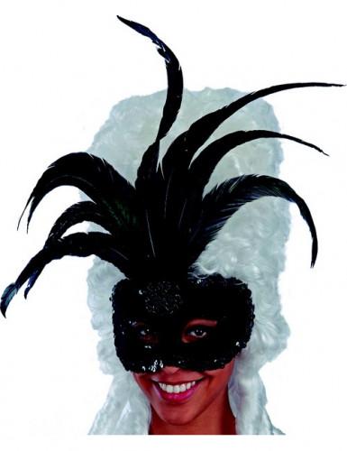 Oferta: Antifaz negro con purpurina y plumas negras adulto