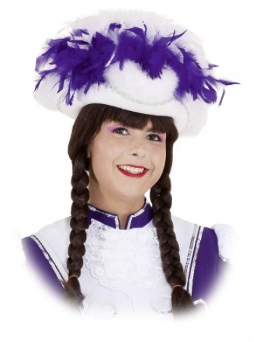 Chapeau tricorne blanc et violet adulte
