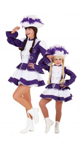 Déguisement de couple majorette violette mère et fille