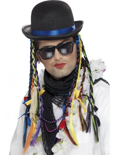 Chapeau chanteur avec tresses colorées adulte